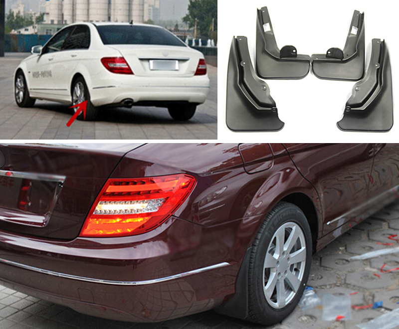 Not For Sport Model car ! Accessories Front & Rear Molded Splash Guards Mud Flaps For Mercedes-Benz C Class W204  2011-2013 pp class front car mesh grill sport style fit for benz w203 c 2000 2006