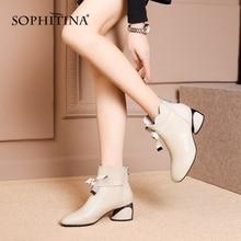 SOPHITINA Модные женские сапоги Удобные Квадратные Toe Специальный дизайн Бабочка-узел Обувь Горячие
