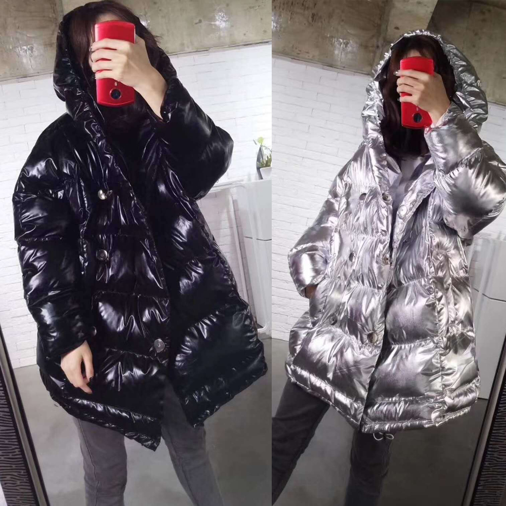 Veste Féminin Femme Vestes Nouvelle Long Lumineux Épais Capuchon Black À Parka Chaud Outwear Noir Argent Lxunyi Hiver Femmes Lâche Manteau Métal silver xPqOqXw6
