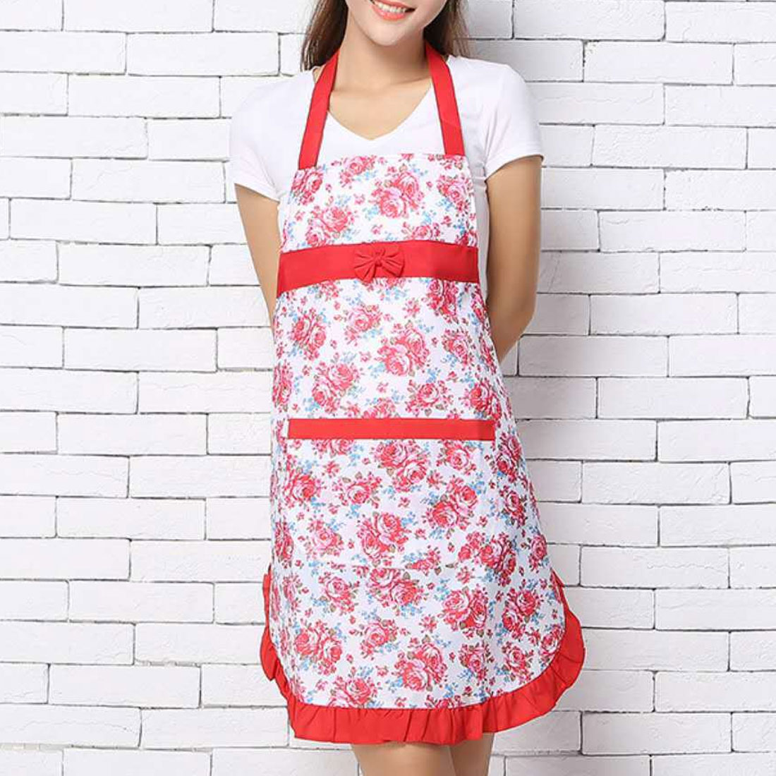 7afe6c3b59 Chinese Kitchen Pinafore Floral Cotton Linen Apron Woman Bibs For Home  Cooking Baking Coffee Shop Cleaning Aprons With Pocket