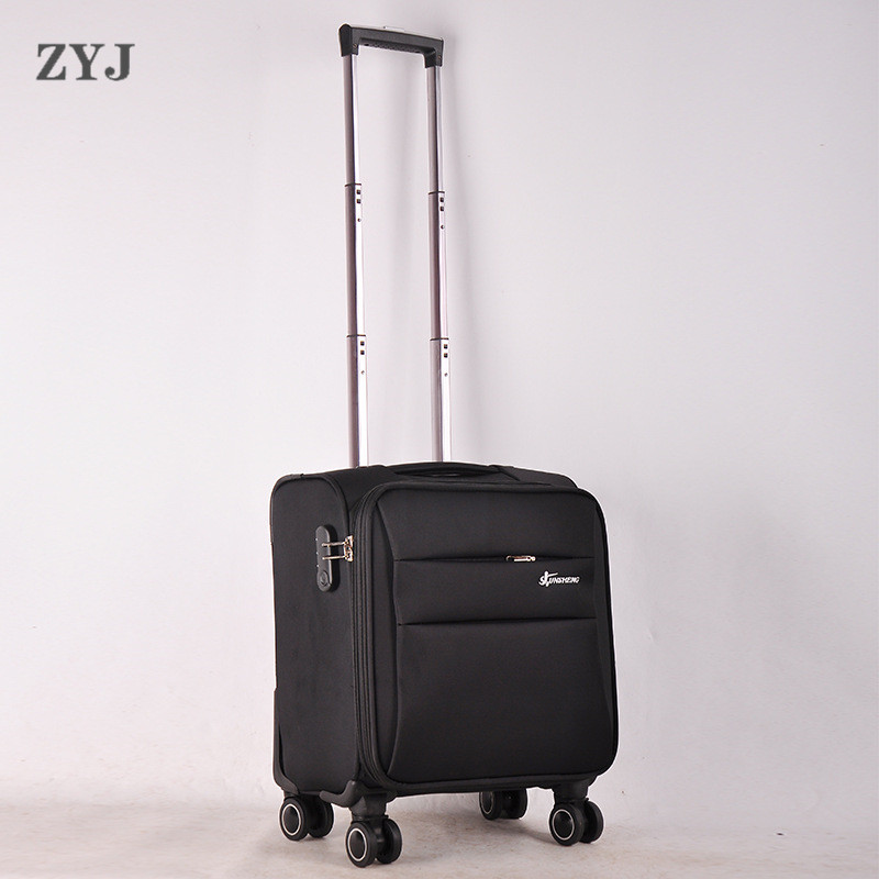ZYJ Fabric Business Travel Airplane Rolling Luggages Men Women Suitcase Clothing Carry On Trolley Soft Luggage