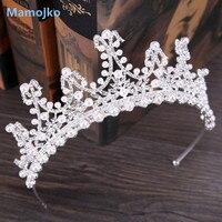 Mamojko Barokowe Perły Rhinestone Włosów Biżuteria Srebrny Tiara Korona Ślubna Panny Młodej Włosów Akcesoria Dla Nowożeńców Biały Księżniczka Nakrycia Głowy
