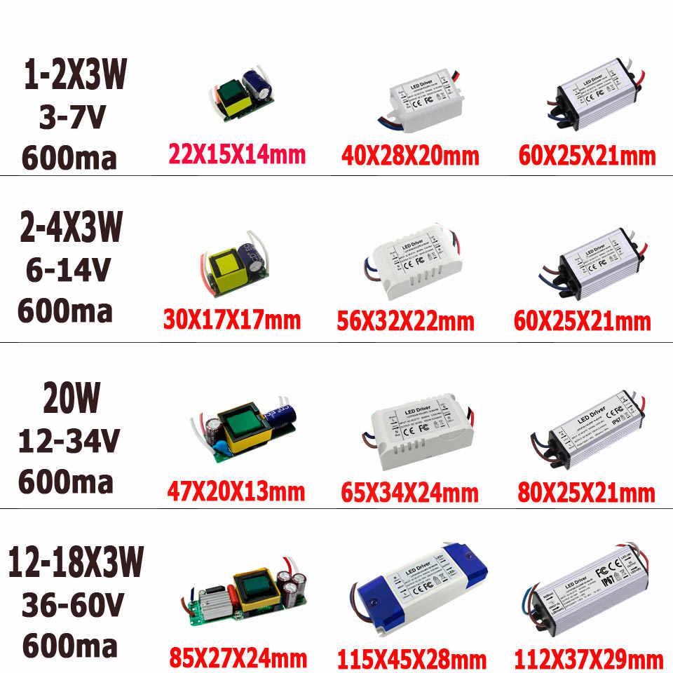 Controlador LED de 600mA, 3W, 10W, 20W, 30W, 40W, 50W, 60W, alta corriente constante PF 1-2x3w, 6-10x3w, 10-18x3w, 18-30x3W, transformadores de lámpara