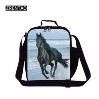 ZRENTAO horse cooler bags for school double zipper crossbody food bags polyester picnic food container meal package for working