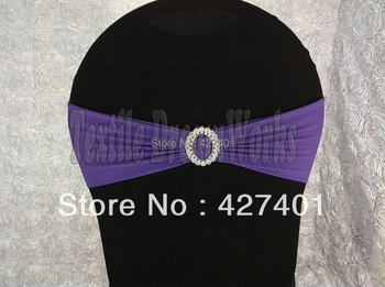Dark Purple Spandex Bands / Lycra Band With Oval Buck  For Wedding & Banquet