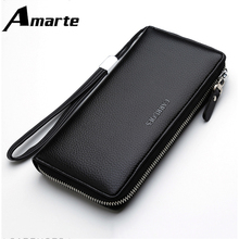2019 Amarte High Quality Men Wallet Zipper Large Capacity Solid Color Wallets Wild Simple Casual Fashion for Male