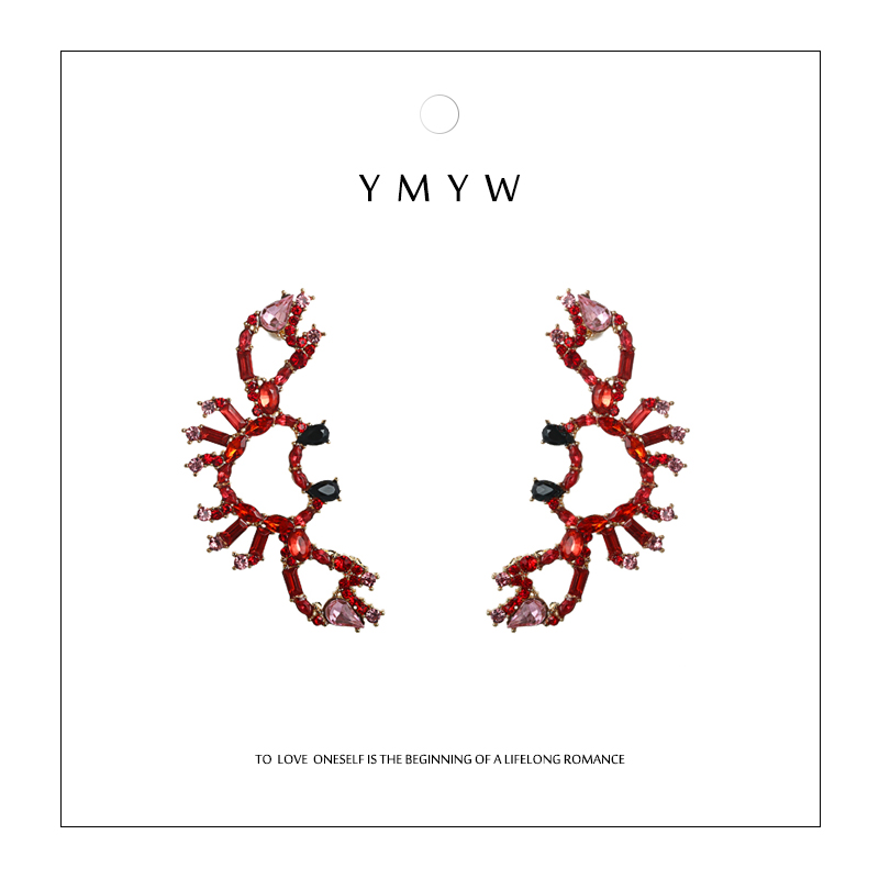 YMYW Stylish Unique ZA Crab Geometric Stud Earrings Crystal Rhinestone Earrings for Women Party Aretes De Mujer Modernos 2019 in Stud Earrings from Jewelry Accessories
