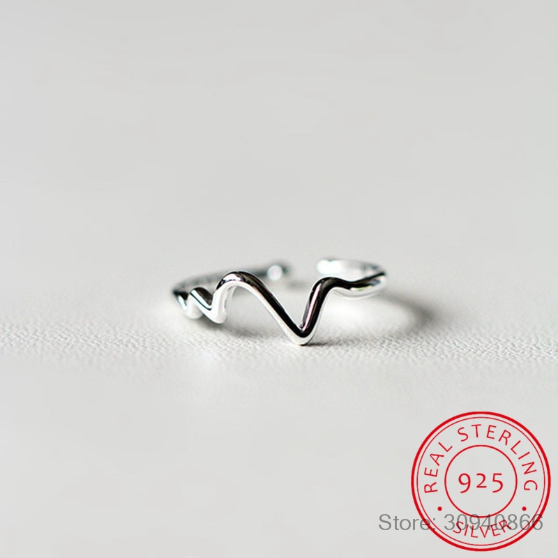 New Arrivals 925 Sterling Silver Heart Beat Rings For Women Adjustable Size Ring Fashion Sterling-silver-jewelry
