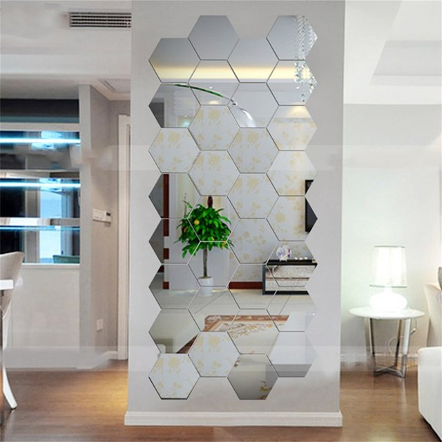 Mirror Decor In Living Room Small Set Hexagonal 3d Mirrors Wall Stickers Home Diy Modern Art Mural Decoration