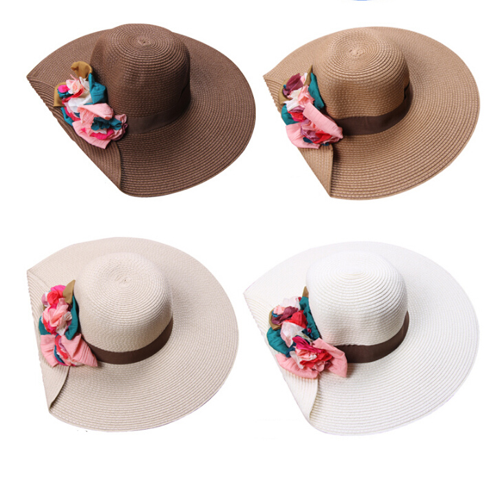 2016 New Fashion Flower Sun Hat Summer Hats For Women Wide Big Brim Women  Hat Summer Free Shipping-in Sun Hats from Women s Clothing   Accessories e563727890a4