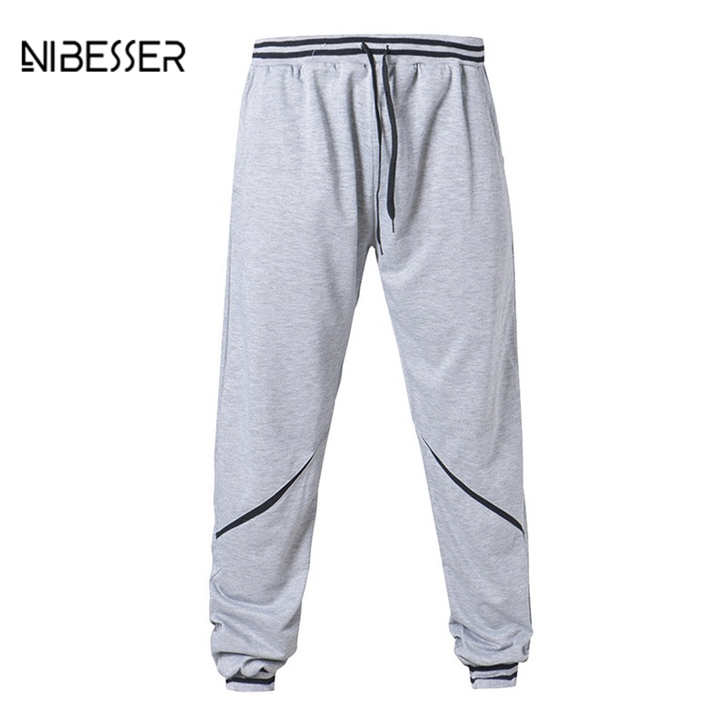 NIBESSER Fitness Males Fashion Sweat Pants Mid Waist Cool Basic Section Pants Men Simple Solid Breathable Lightweight Trousers
