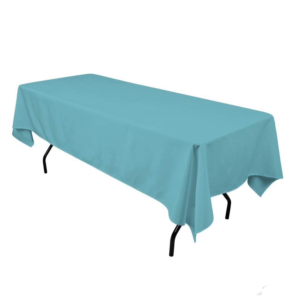 Marvelous Fedex IE 60x102 In. Rectangular Polyester Tablecloth Turquoise For Banquet,  20/Pack(