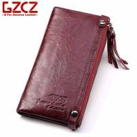 GZCZ Genuine Leather Women Long Wallet Luxury Designer High Quality Clutch Coin Purse Card Holder Portomonee