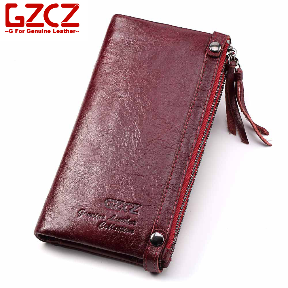 GZCZ Genuine Leather Women Long Wallet Luxury Designer High Quality Clutch Coin Purse Card Holder Portomonee Small Vallet ...