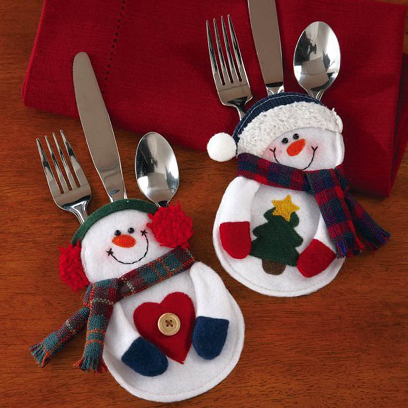 exceptional Snowman Kitchen Decor #1: 8pcs/set Xmas Decoration Nonwoven Fabric Snowman Kitchen Tableware Holder  Pocket Christmas Decoration Supplies(