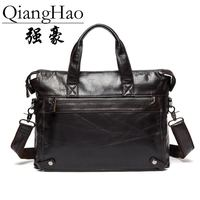QiangHao Leather Men Briefcare Brand High Quality Men S Business Handbags Two Color Real Leather Soft