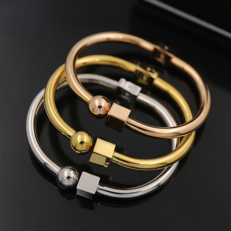 New Fashion Titanium Steel Nail Love Bracelet Ball Cube Geometry Simple Open Bracelets Bangles For Women