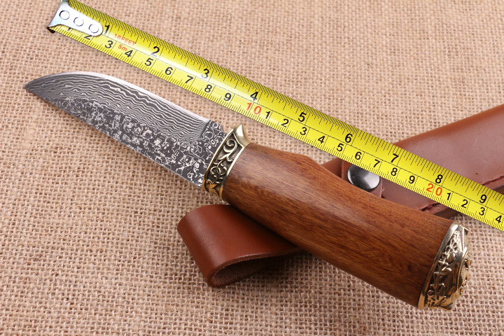 Buy Fine Hunting Damascus Fixed Blade Knife Brass+Wood Handle Tactical Knife Multi Outdoor Survival Knives Straight Knives Camp EDC cheap