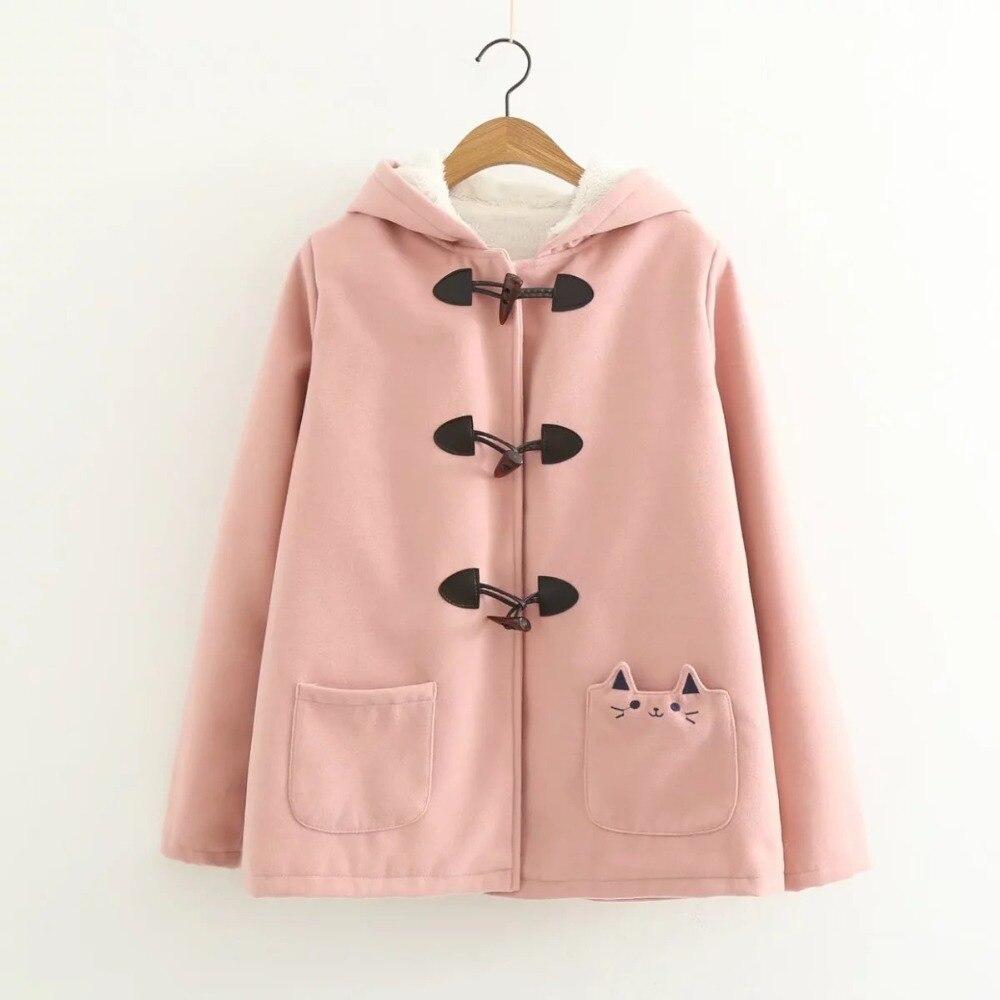Image 4 - Lovely cat pockets warm hooded winter coat women jacket horn  button plus velvet 3colors M,Lwinter coat women plushood wintercoat  women