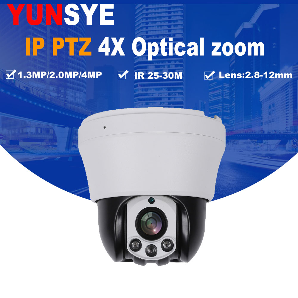 Mini IP POE PTZ Camera 1.3MP/2MP/4MP Full HD 2.8-8mm 4X Zoom Lens 25m Infrared Night Vision Middle Speed Dome Camera POE IP PTZ original oem english version ds 2cd2120f is mini dome camera full hd 2mp 2 8mm support poe