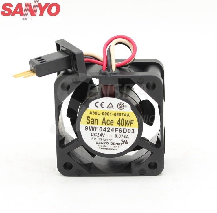 Original Sanyo 9WF0424F6D03 24V 0.076A  4cm 40mm server axial cooling fans nz f 24 6 5x16 5x105 et39 d56 6 wf