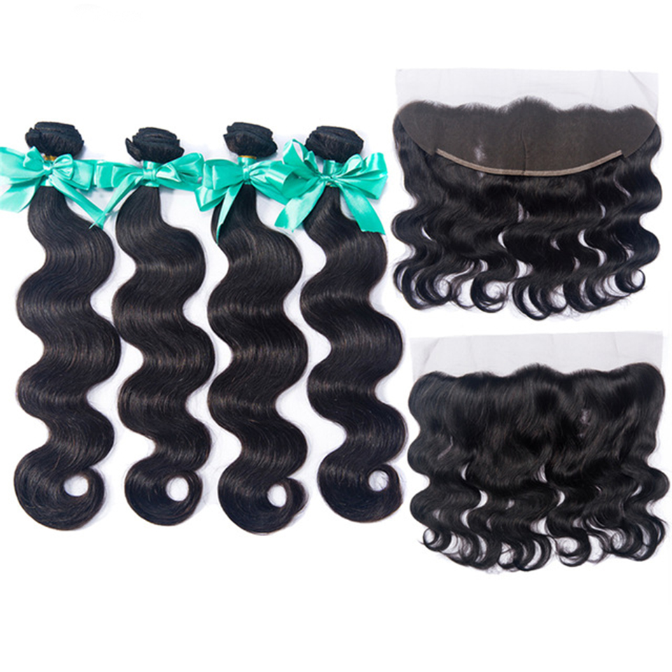 OYM Hair Extension 100% Human Hair Peruvian Human Hair Bundles 13*4 Lace Frontal With Bundles Body Wave Bundles