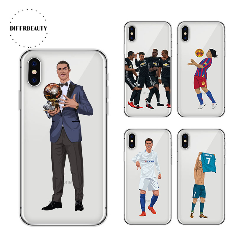 the best attitude 46424 88470 Soccer Ball Iphone X Milly Ronaldo Soft TPU Mobile Phone Cover For Iphone X  8 7 6S Plus 5S Case Cover