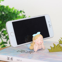 Creative Beautiful Mermaid Phone Holder Micro Landscape Resin Crafts Artificial Figurine Miniatures Gifts Home Garden Supplies