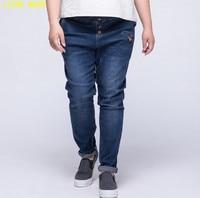 Womens Boyfriend Tapered Jeans Women High Waist Jeans Stretch Female Blue Button Fly Denim Pants Plus Size 6XL 7XL