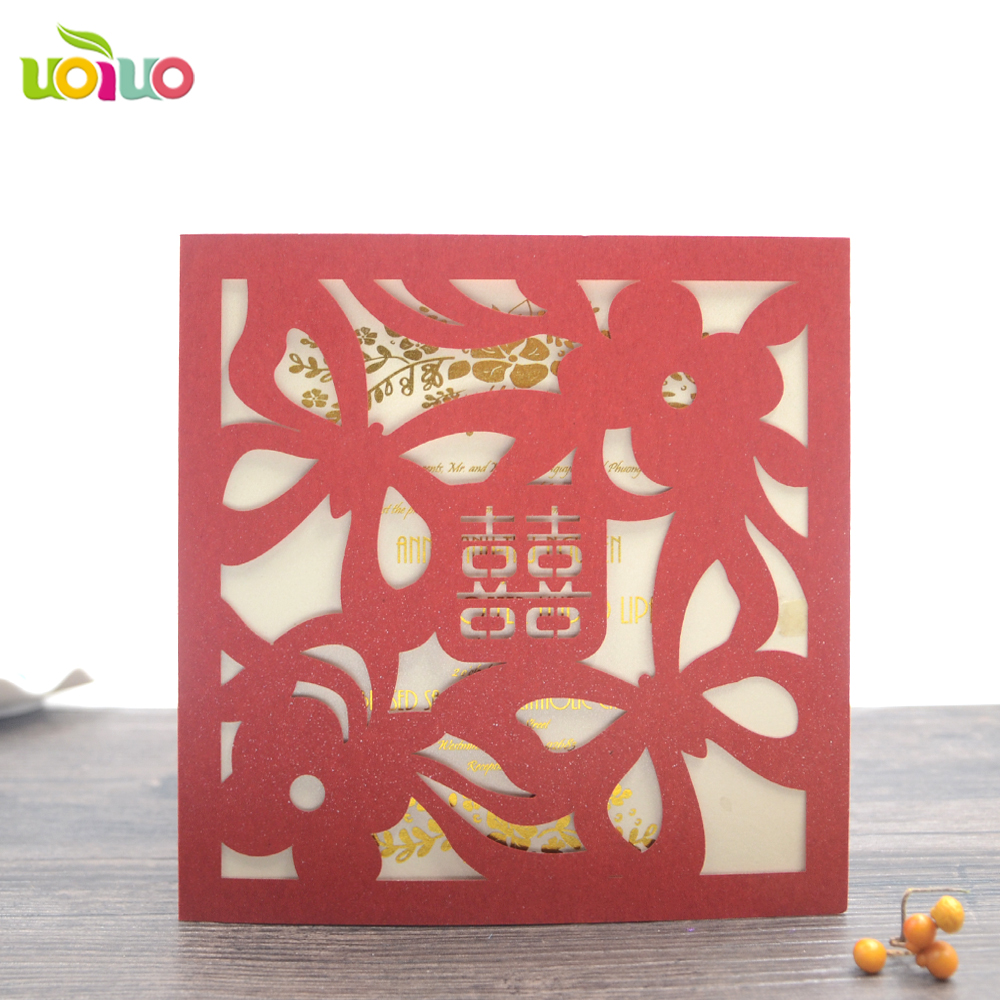 50 Elegant China red customized wedding invitation card chamange ...