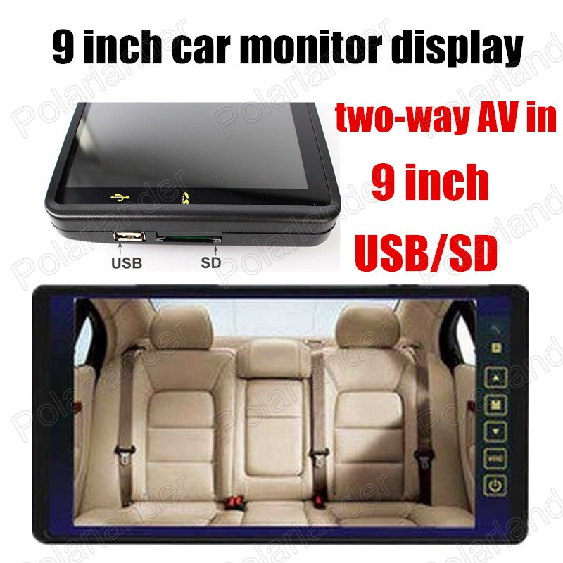 9 Inch Color TFT LCD Car Monitor display backup reverse camera with 2 Video Input reverse priority USB SD
