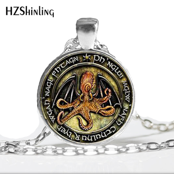 HZ--A438 New Lovecraft Cthulhu R'lyeh Necklace Lovecraft Cthulhu Jewelry Glass Photo Cabochon Pendant HZ1 image