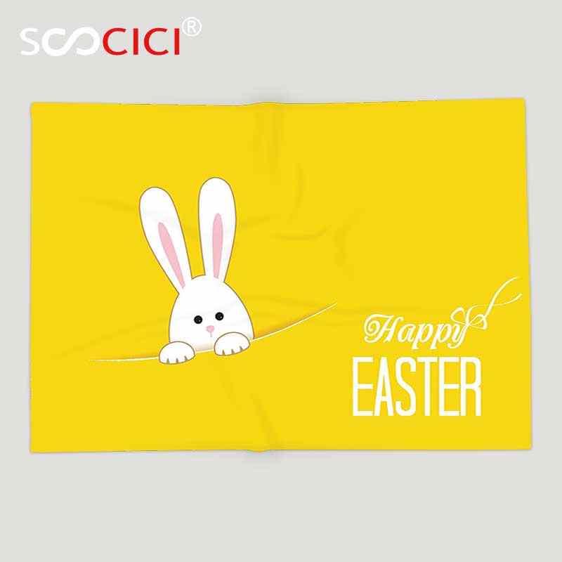 Custom miękki koc polarowy żółty wystrój zając wielkanocny królik zwierząt Cartoon wiosna wesoły zabawa celebracja dzieła sztuki