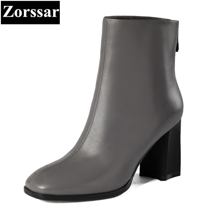 {Zorssar} 2017 Winter Ladies shoes Fashion big brands Real leather Women Ankle Boots High heel Womens riding boots Size 33-43 bibicola 2018 fall winter new girls long sleeved warm dress korean version of the children s leisure sweater princess party dres