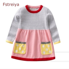 лучшая цена Baby girl christmas sweater tiny cottons 2018 kids long sweater dress toddler girl winter striated clothes girls Dot pullover