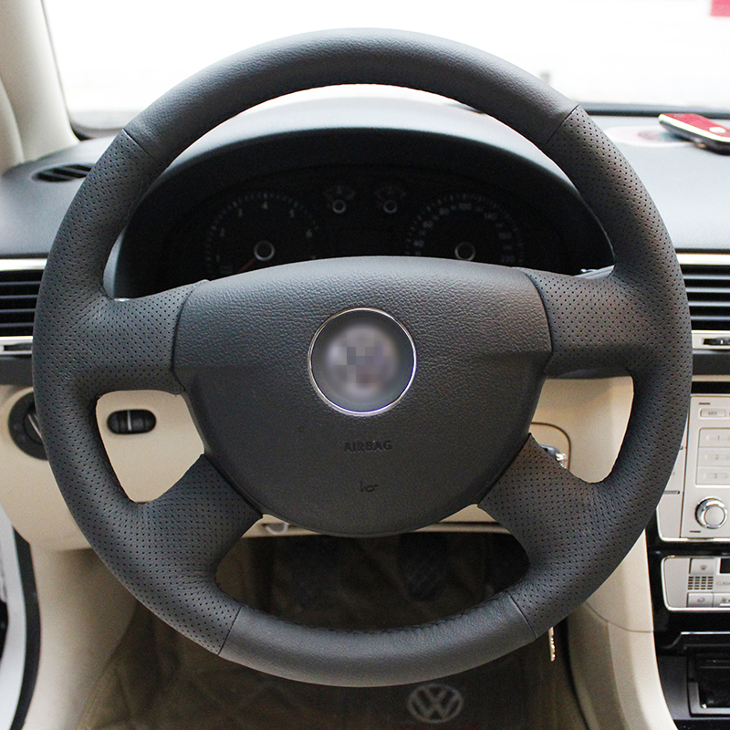 BANNIS Black Artificial Leather DIY Hand stitched Steering Wheel Cover for Volkswagen VW Passat B6