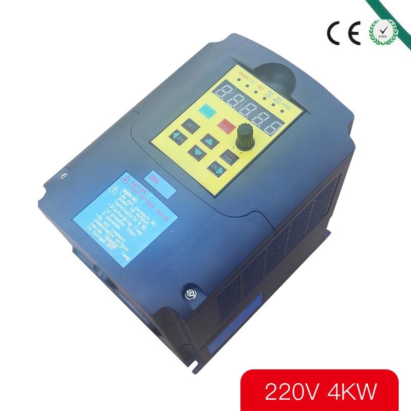 Convertisseur de fréquence Variable d'inverseur de fréquence de 220 V 4KW inverseur de 4kw pour le moteur de pompe à eau 220 v 1 entrée de phase 3 entraînements à ca de phase