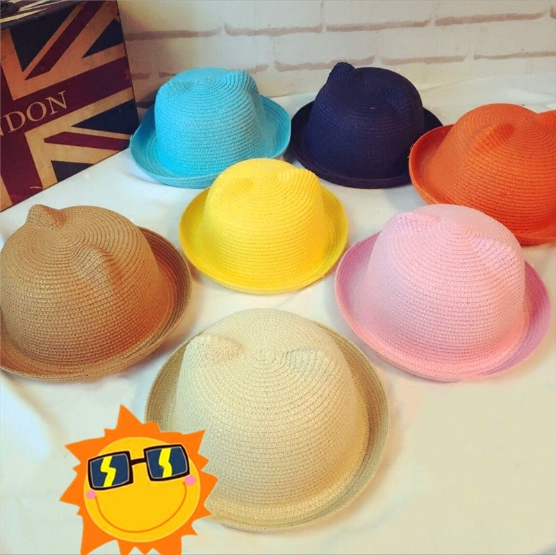 Summer Hat Breathable Straw Hats Children Solid Girls Boys Caps Kids Fashion Popular Cap Unisex Cute Lovely Cat Ears Sun Tops