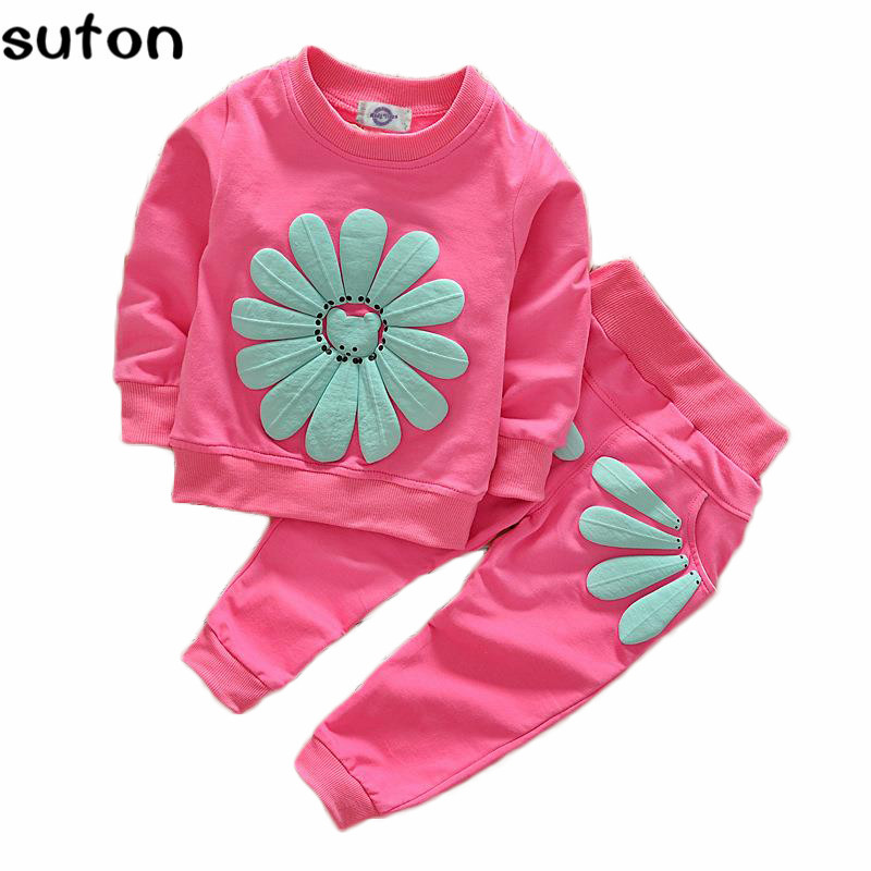 2018 Spring Autumn 1-4Y Children Girl Clothing Set Baby Girls Sports Sunflower Suit Toddler Babies Clothes Set Outfits Tracksuit 1 4y spring autumn children clothing set girls sports suit baby girls tracksuit cartoon minnie children clothes set kids