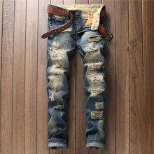 Мужская мода slim джинсы брюки весна лето отверстие прилив случайных брюки печати костюм певица танцор ночной клуб бар производительность