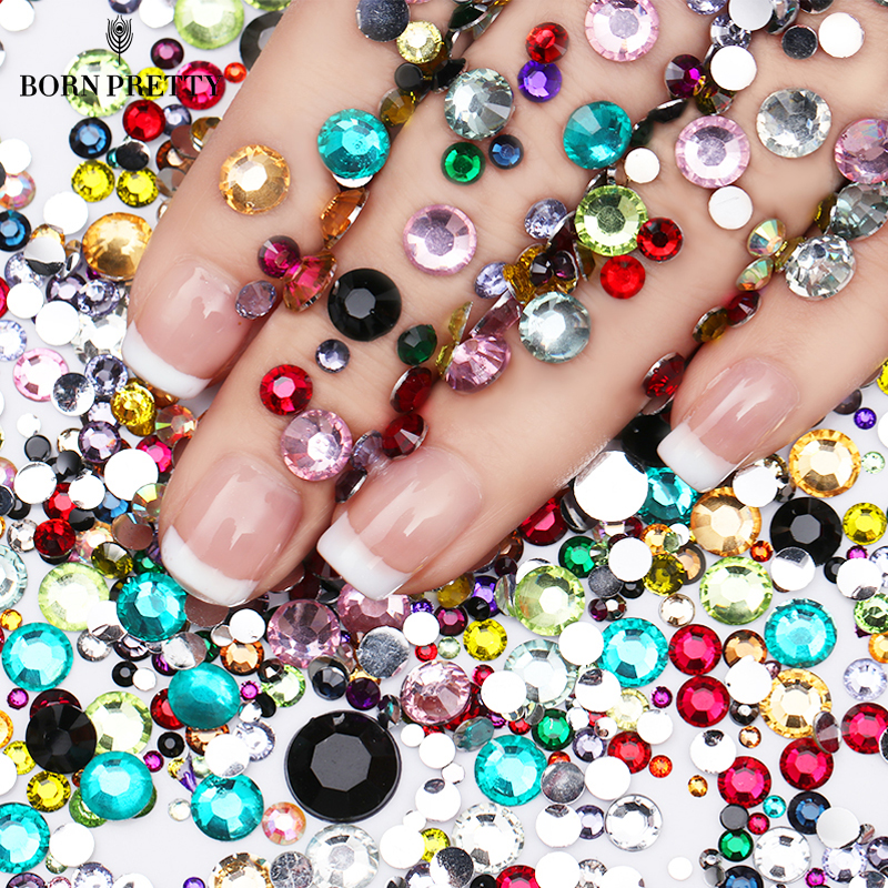 2000Pcs BORN PRETTY Flatback Nail Rhinestones Colorful Crystal Mixed Size Nail Studs 1 Bag HotFix Manicure Nail Art Decorations