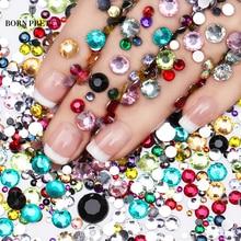 2000 шт. родился довольно ногтей Стразы красочные кристалл смешанные Размеры ногтей шпильки Маникюр Дизайн ногтей Аксессуары 1 пакета(ов)