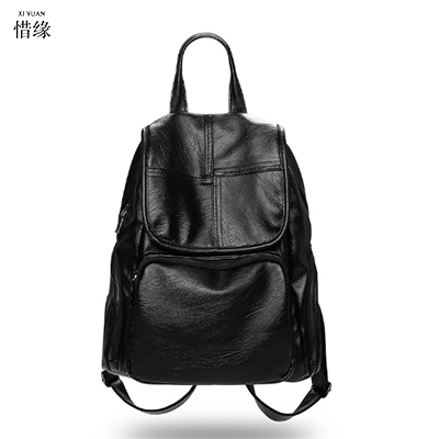 2017 new leather female shoulder bag lady Korean simple sheepskin students backpacks women Large capacity travel backpack black oxford bag korean version of the female students shoulder bag large capacity backpack canvas backpacks