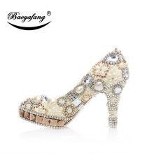 BaoYaFang nueva llegada de champán de cristal de las mujeres zapatos de  boda mujer perla marfil zapatos de plataforma zapatos de. aa9db2f7bdcc