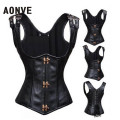 Black Leather Corset Vest  and Bustiers Modeling Strap Corsetto Sexy Lingerie Steampunk Corset Gothic Clothing