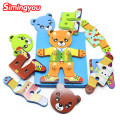 Simingyou Puzzles & Magic Cubes Wooden Bear Changing Clothes Puzzle Board Children 'S Educational Toys  SG31