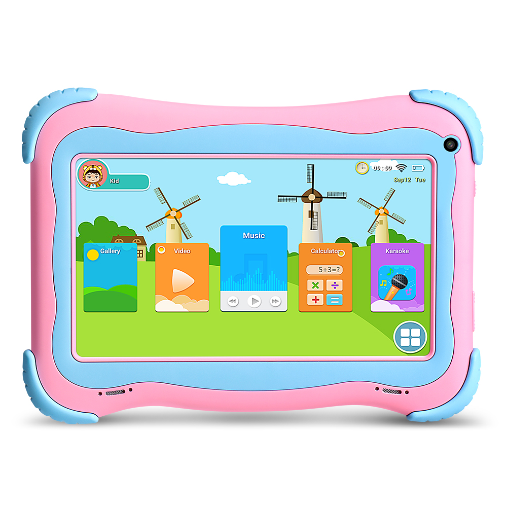 Yuntab 7 inch Q91 Allwinner A33 Quad Core 1GB+8GB Android 4.4 Kids Tablet PC Touch Screen Dual camera Hot 2100mAh battery yuntab 3g tablet pc k17 quad core android 5 1 touch screen unlocked smartphone with dual camera 0 3mp 2mp 5000mha battery