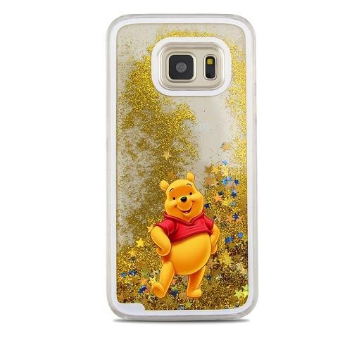 Cute Cartoon Winnie Stitch Glitter Liquid quicksand bear Stich Case For Samsung Galaxy S7 edge S8 S9 Plus Note 8 9 Cover
