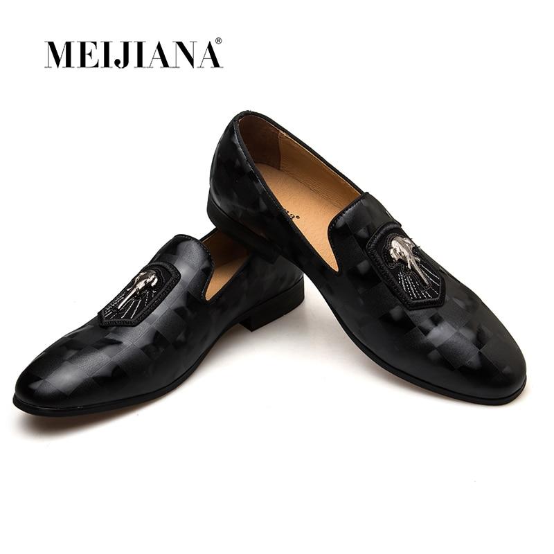 MEIJIANA 2019 Spring Autumn Genuine Leather Men Loafers Fashion Men Shoes Black Banquet Shoes