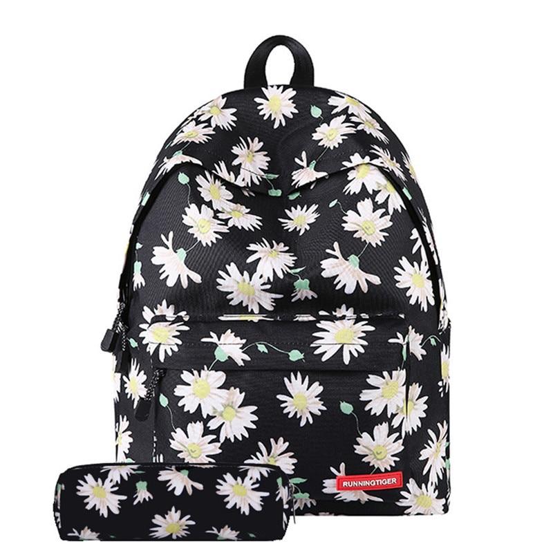 Fresh Style Women Backpacks Floral Print Bookbags 2pcs/set Backpack School Bag For Girls Rucksack Female Travel Backpack kalidi 2pcs set backpack